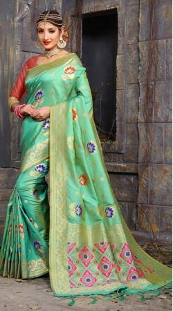 Wedding wear Green Banarasi silk Saree