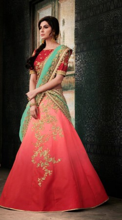 Red and Pink Lehenga Choli For Reception Wear