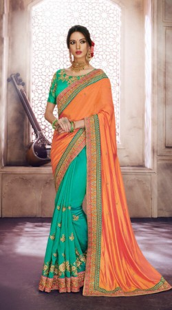 Orange and Green Saree For Reception Wear