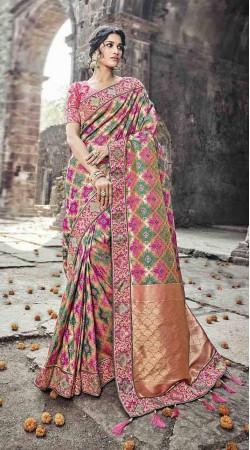 Banarasi Silk Sangeet Ceremony Multicolor Saree