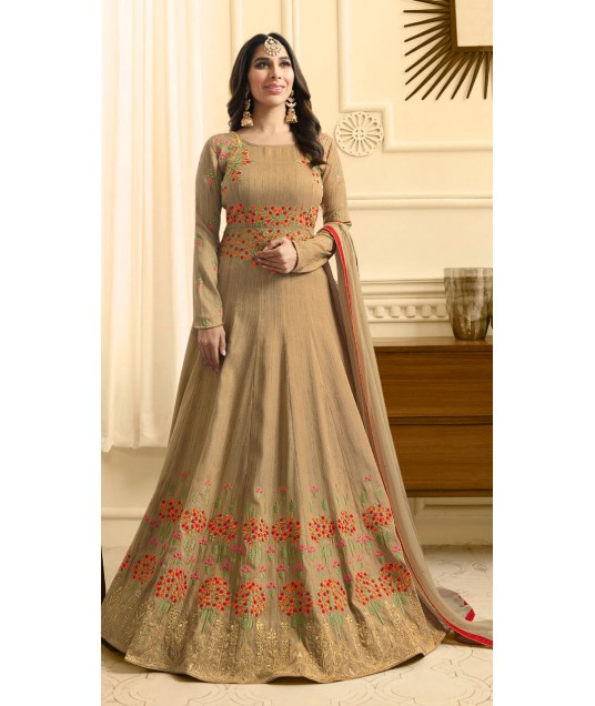 Silk Festival Beige Brown Anarkali Suit