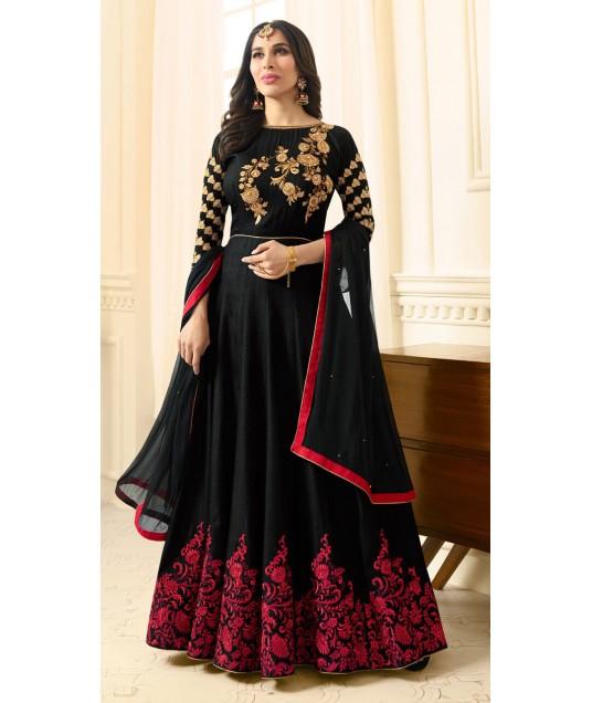 Wedding Wear Silk Black Anarkali Style Suit