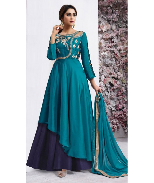 Teal Green and Blue Suit For Wedding Wear