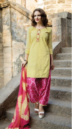 Yellow salwar kameez For Casual Wear