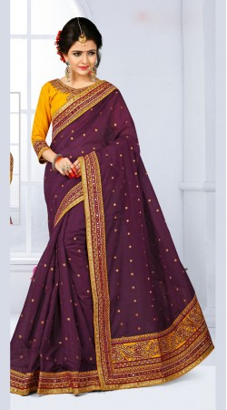 110f391423db2a Green And Pink Party Wear Saree With High Neck Blouse RY700905