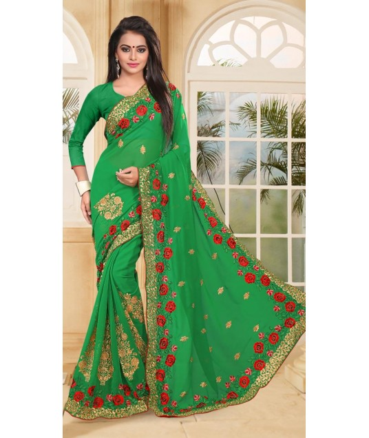 Green Georgette Good Looking Saree For Wedding wear
