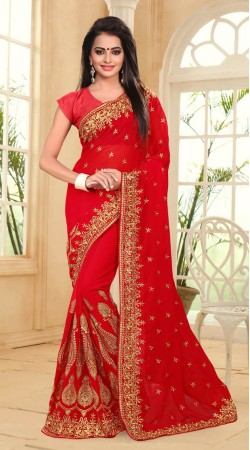 Red Georgette Good Looking Saree For Festival wear