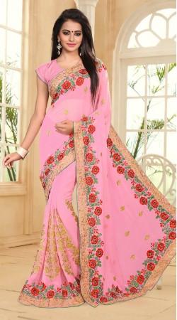 Pink Resham and zari work Heavy Resham work Saree