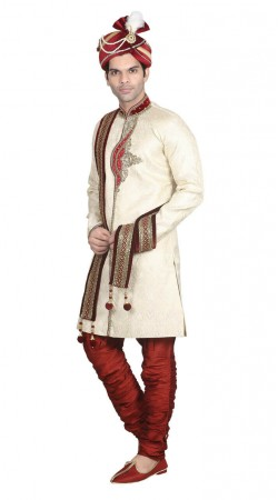 Party Wear Jacquard Off white sherwani and maroon breeches