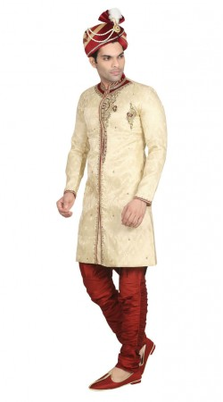Off white sherwani and maroon breeches For Festival Wear