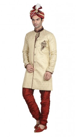 Jacquard Reception Off white sherwani and maroon breeches
