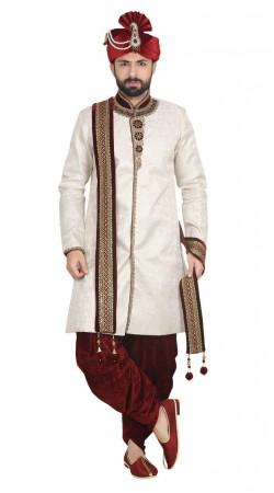 Jacquard Wedding Cream sherwani and maroon dhoti