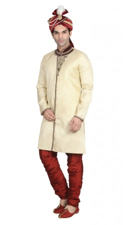 Reception Wear Jacquard Off white sherwani and maroon breeches