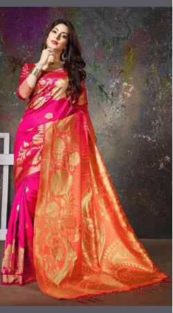 Deep Magenta and Peach Saree For Party Wear