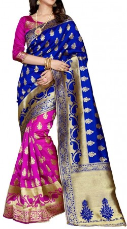 Sangeet Ceremony Wear Silk Royal Blue and Rani Pink Saree