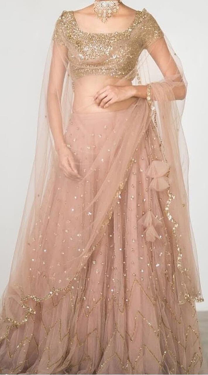 Elegant Peach Net Crop Top Lehenga Choli Wj37113