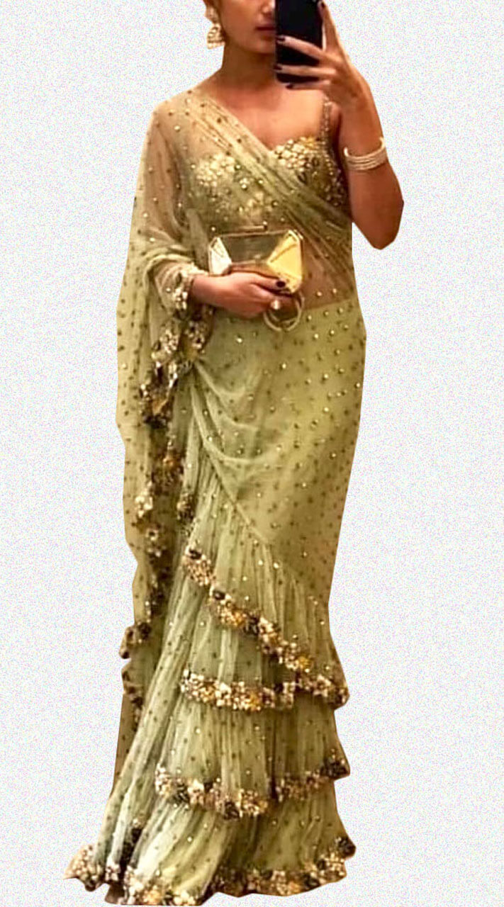 Gorgeous Green Net Frill Style Saree Wj38313
