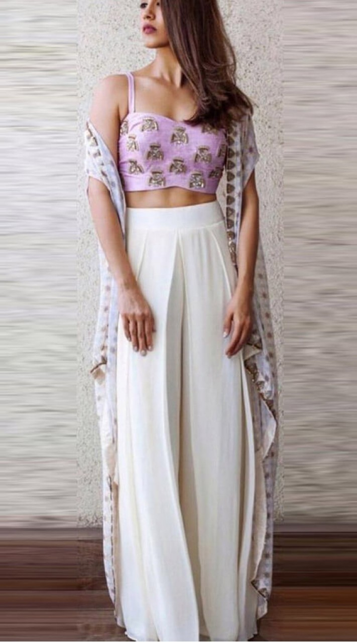 Georgette Bollywood Style Choli With Palazzo Suit Wj44714