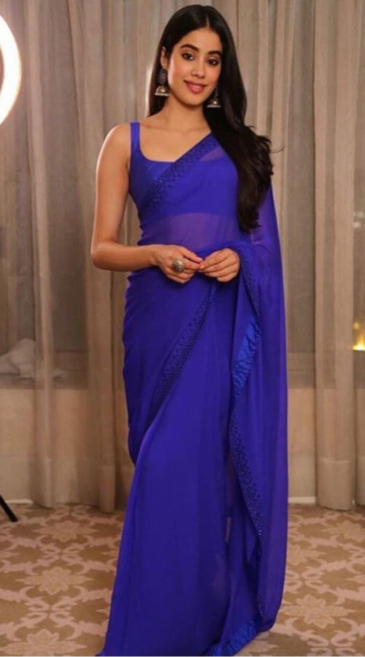 Navy Blue Janhvi Kapoor Saree For Festival WJ65920