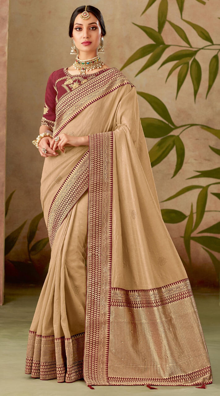 Silk Contrast Blouse Saree For Festival MS1311158