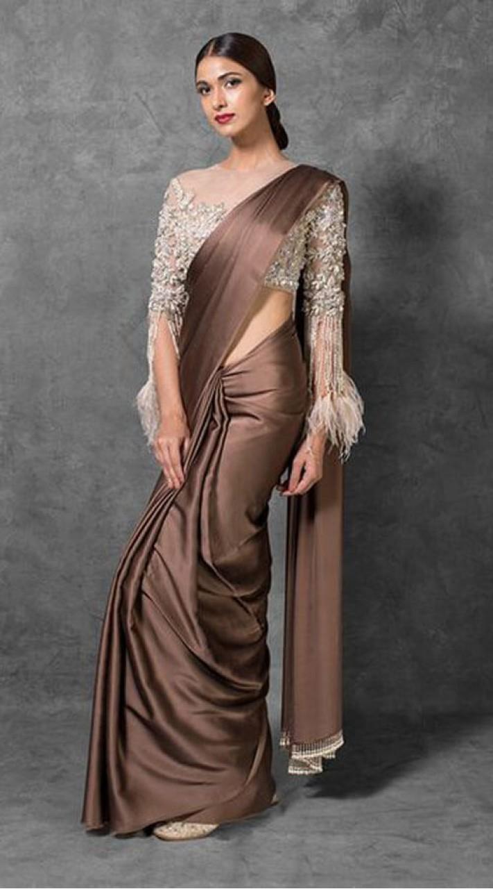 Brown Satin And Net Designer Blouse Saree WJ96030