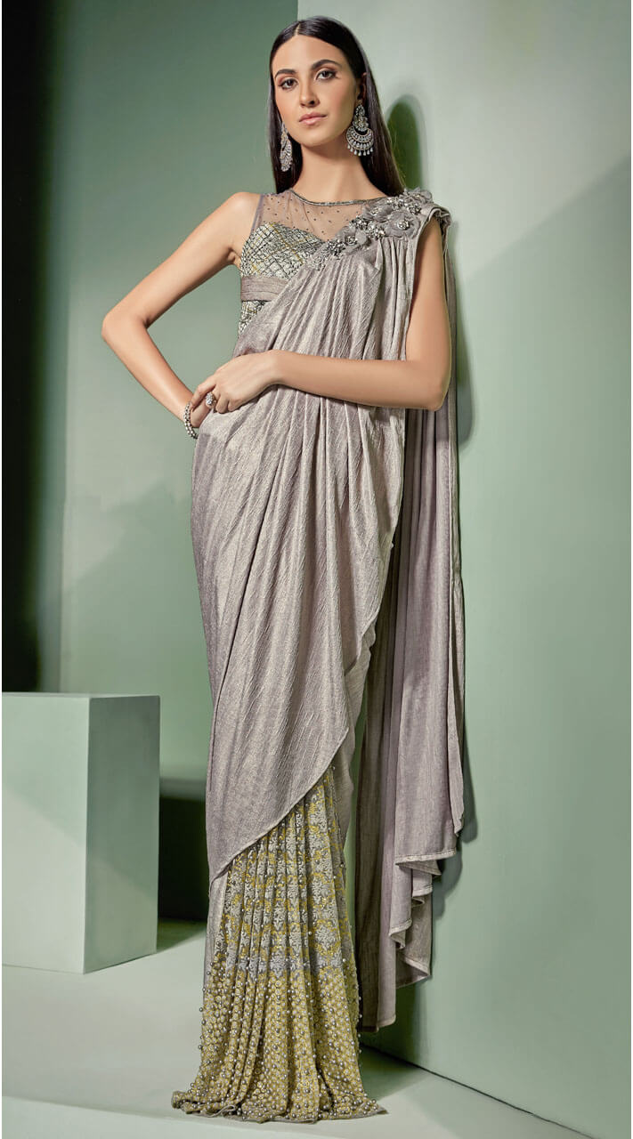 Silver grey high netted blouse ready made saree ms530163 - Olive green and grey ...