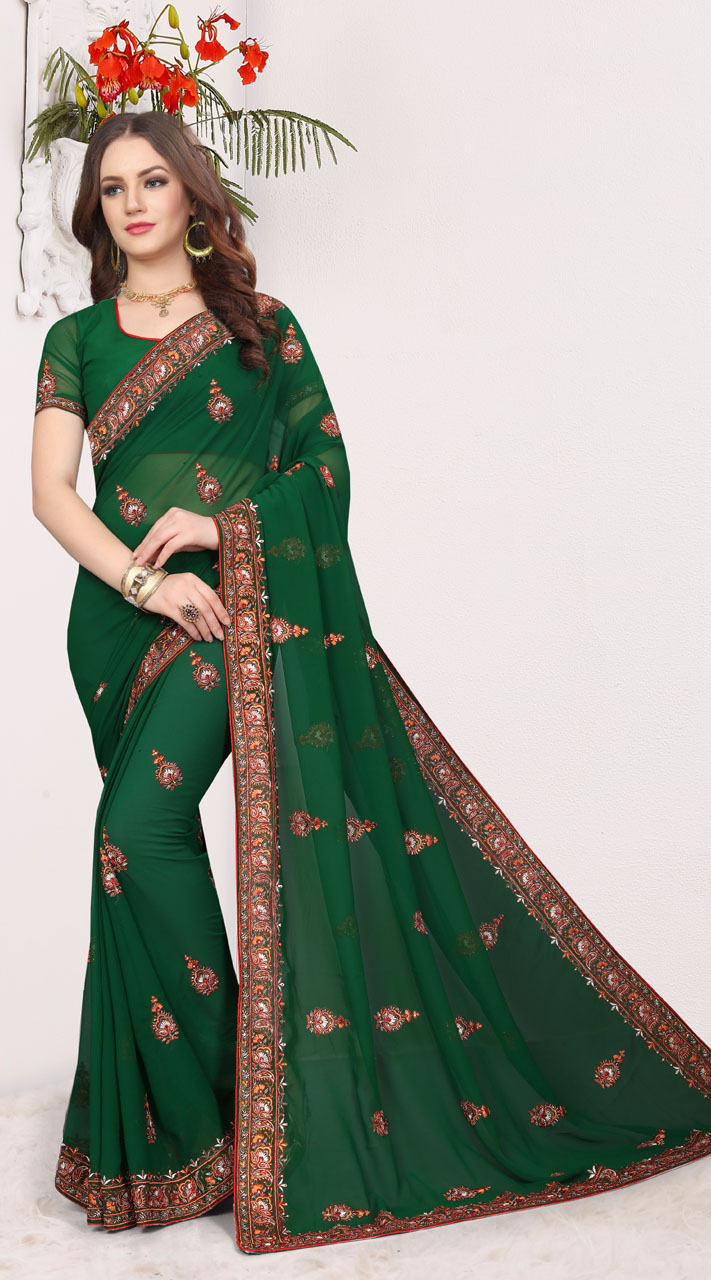 378b3c6a1d6313 Dark Green Georgette Designer Blouse Saree for Party RJ168119